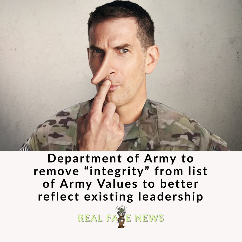 Army will remove integrity from values